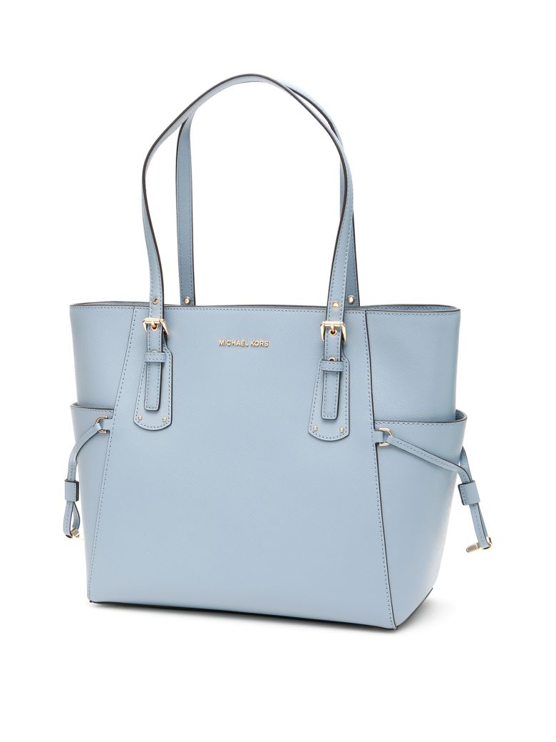 MICHAEL Michael Kors Voyager Leather Tote Bag - PALE BLUE (Light blue)