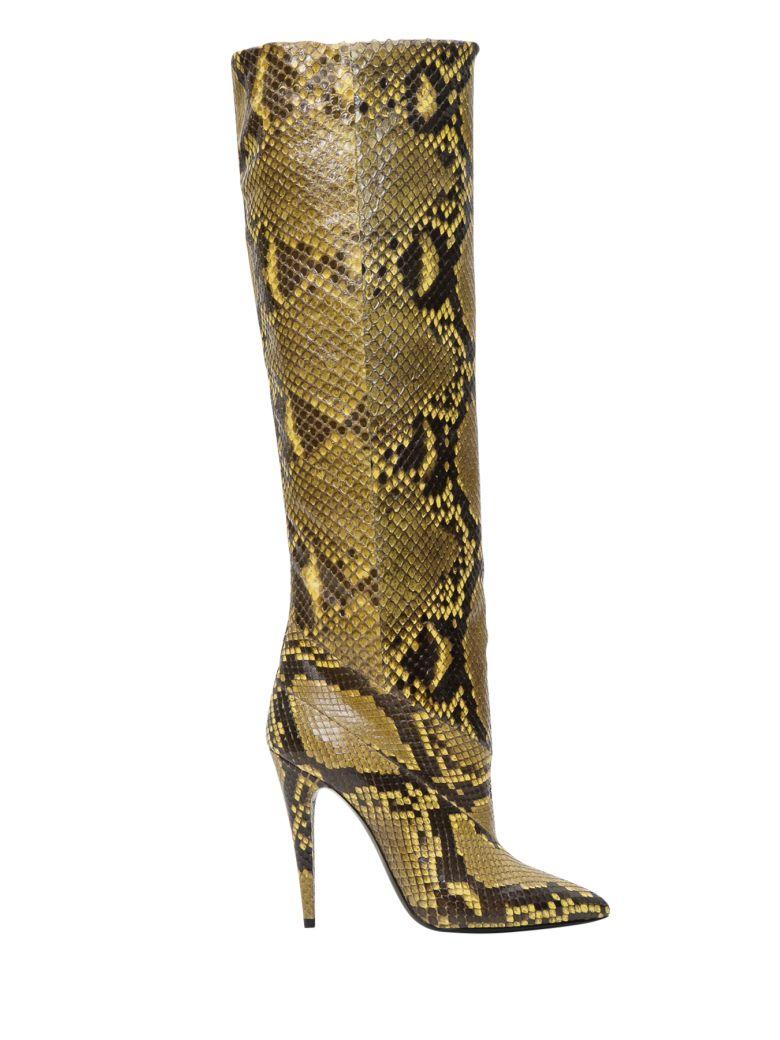 Saint Laurent Abbey Boots In Python - Beige