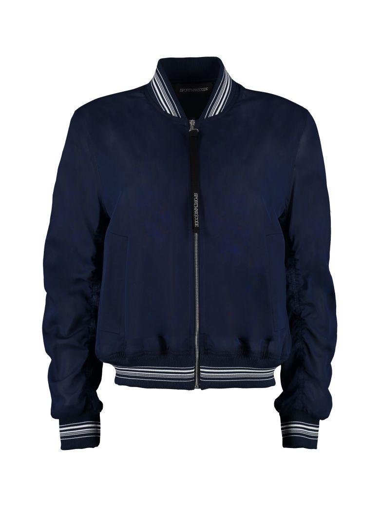 SportMax Vidim Cotton Bomber Jacket - blue