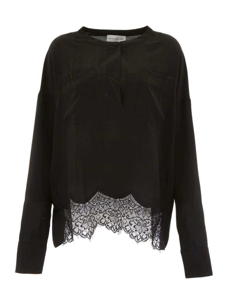 Faith Connexion Blouse With Lace - BLACK|Nero