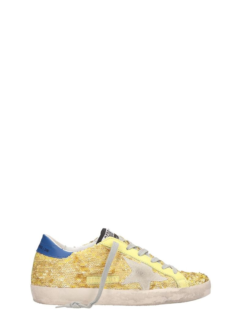 Golden Goose Leather And Gold Paillette Superstar Sneakers - gold