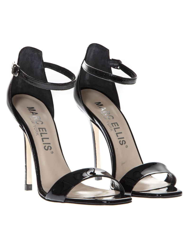 Marc Ellis Black Patent High  Leather Sandals - Black