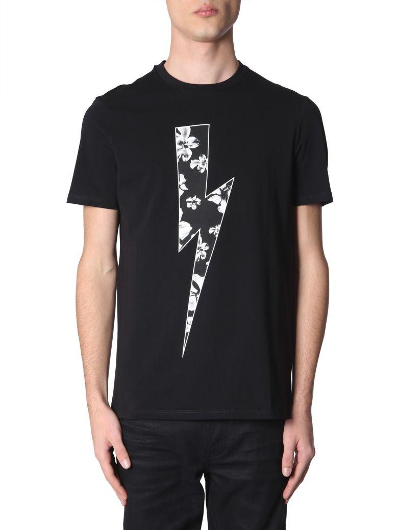 Neil Barrett Flower Bolt Printed T-shirt - NERO