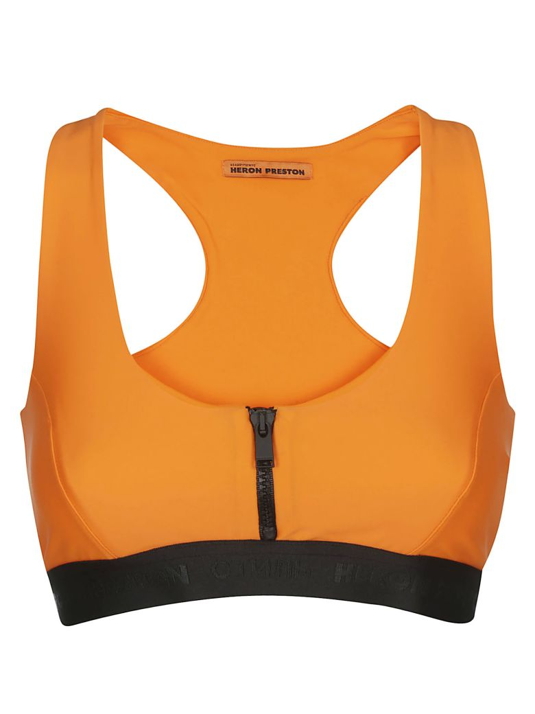 HERON PRESTON Zipped Sports Bra - Orange fluo