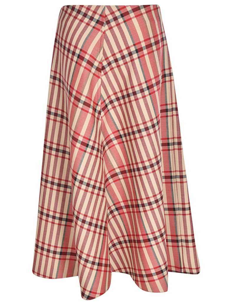 Tela 9 Checked Asymmetric Skirt - Multicolor