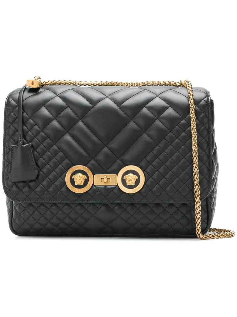 Versace Lambskin Shoulder Bag - Ot Nero Oro Tribute