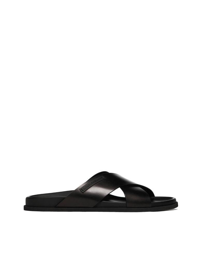 Dolce & Gabbana Cross Strap Sandals - Nero