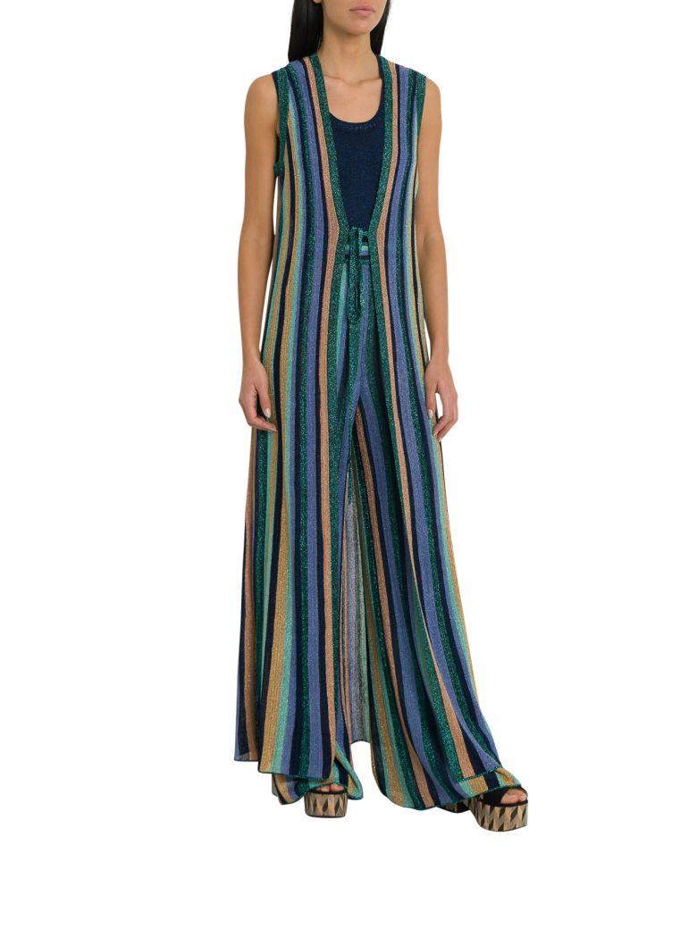 M Missoni Lurex Knit Sleveless Coat With Multicolor Striped Motif - Multicolor