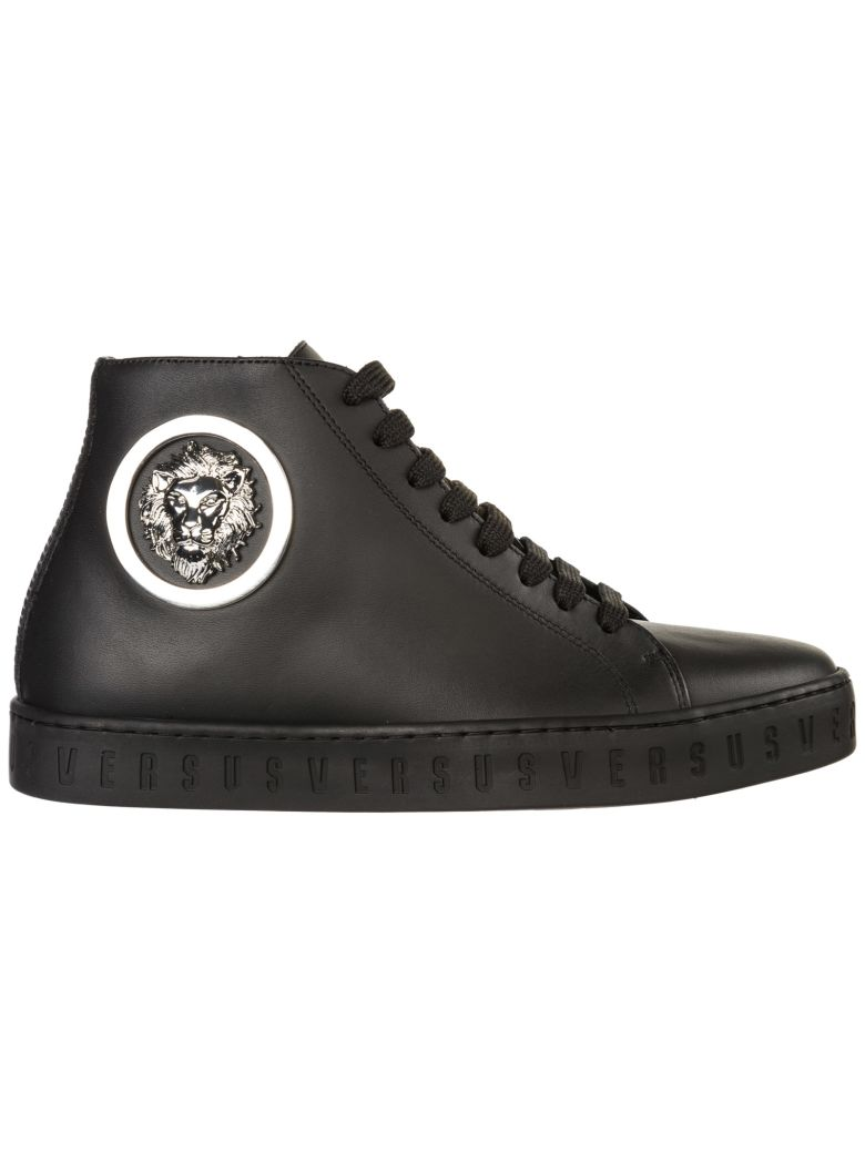 Versus Versace  Shoes High Top Leather Trainers Sneakers Lion Head - Nero