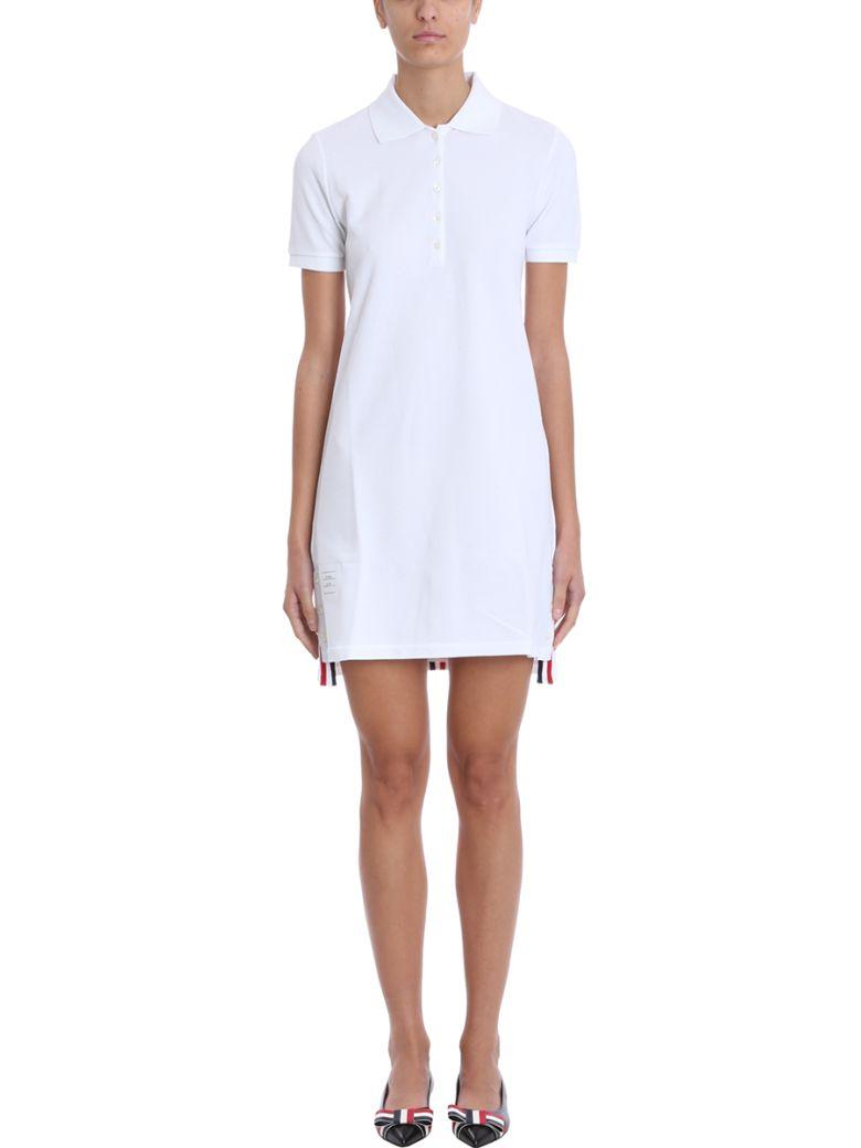 Thom Browne White Cotton Polo Dress - white