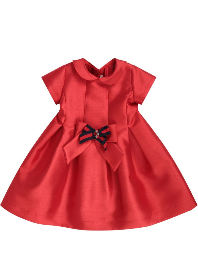 LòLò Red Dress For Girl With Red And Blue Bow - Red