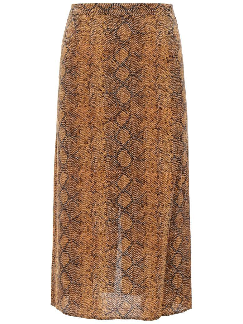 Rokh Python Print Skirt - BROWN (Brown)