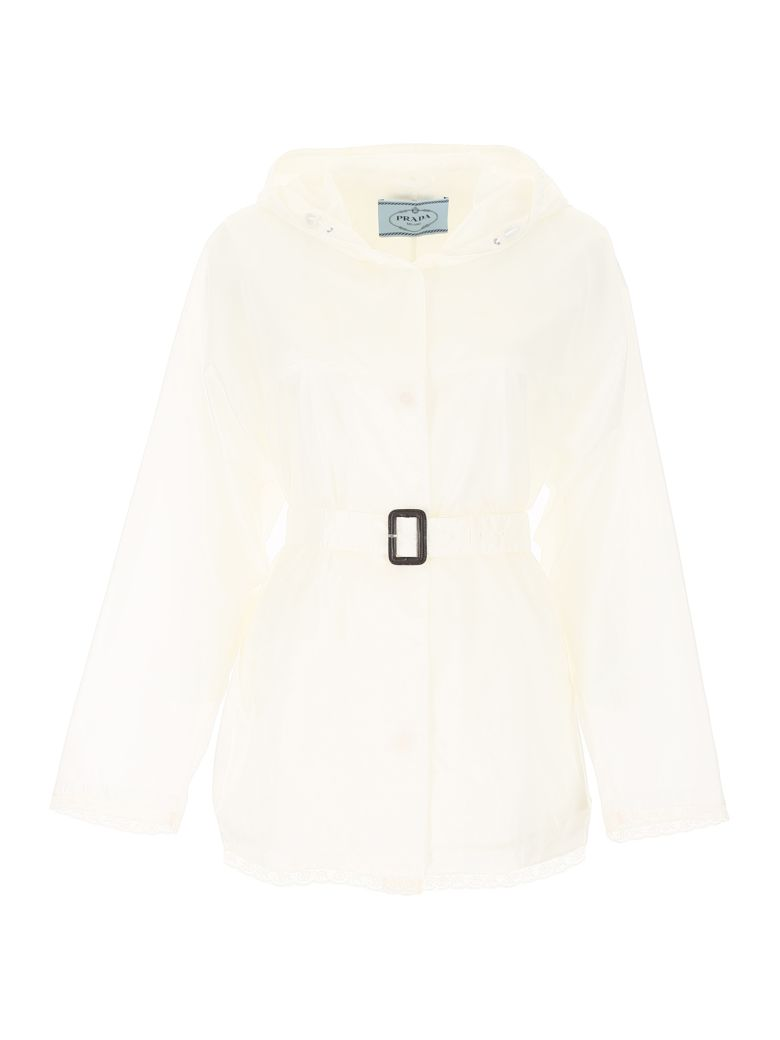 Prada Linea Rossa Nylon Jacket With Lace - BIANCO (White)