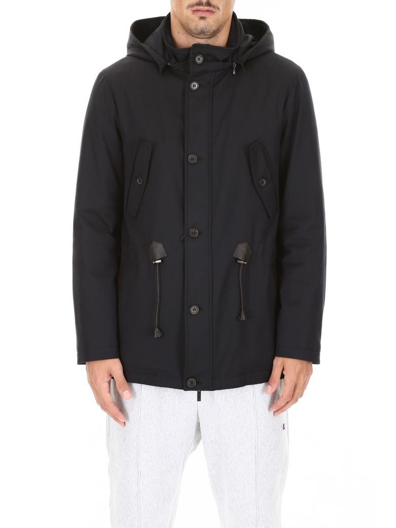 CC Collection Corneliani Parka With Leather Details - NAVY (Blue)