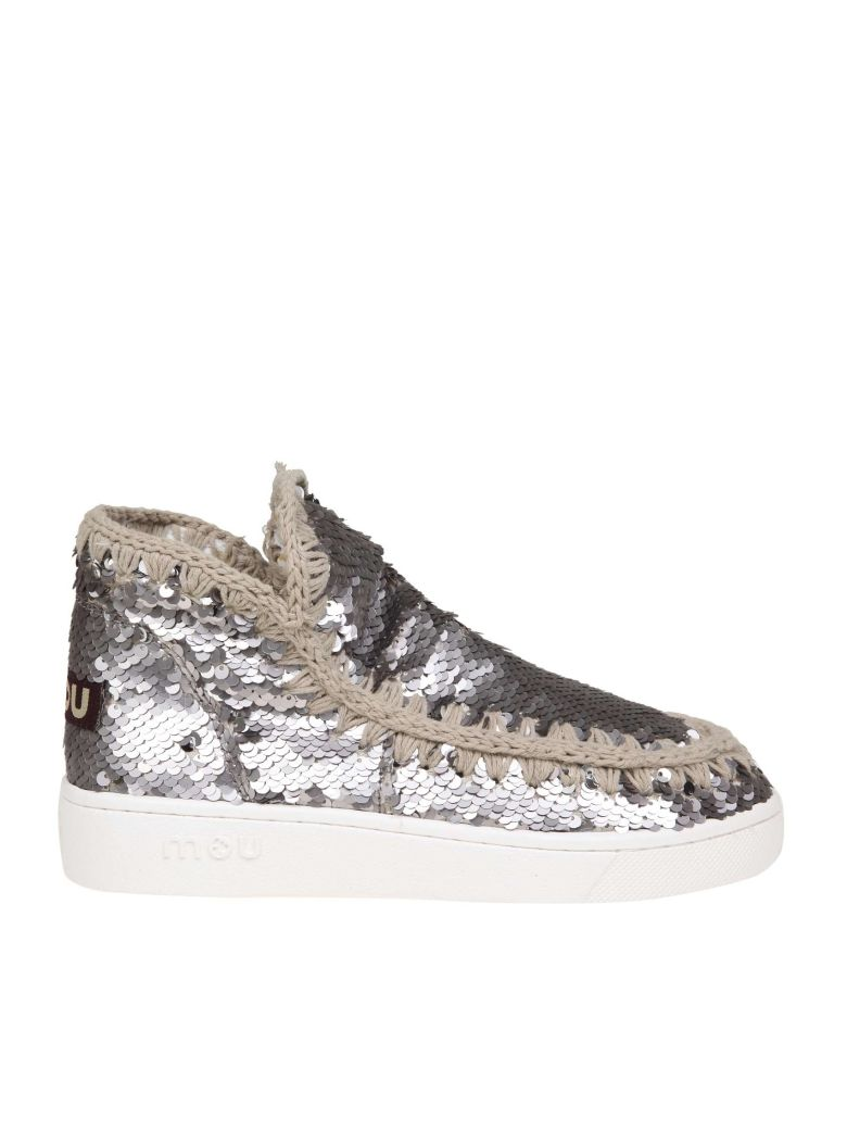 Mou Sneakers In Paillettes Color Anthracite - Basic