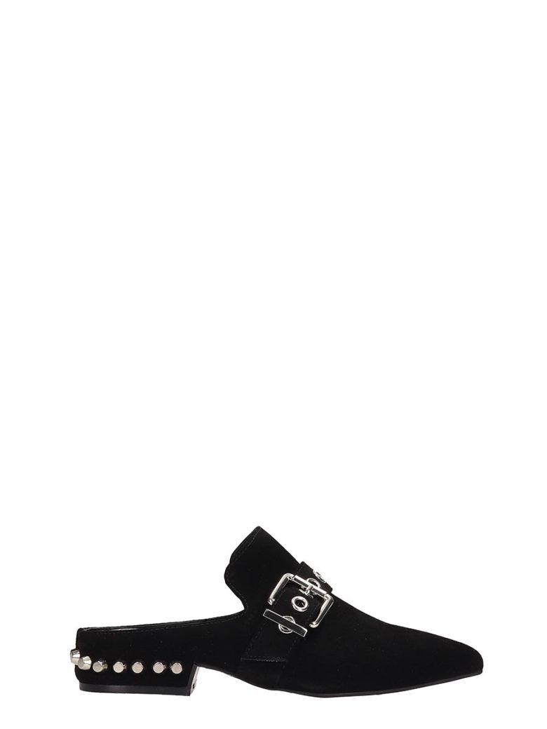 Jeffrey Campbell Black Suede Talega Flats Sandals - black
