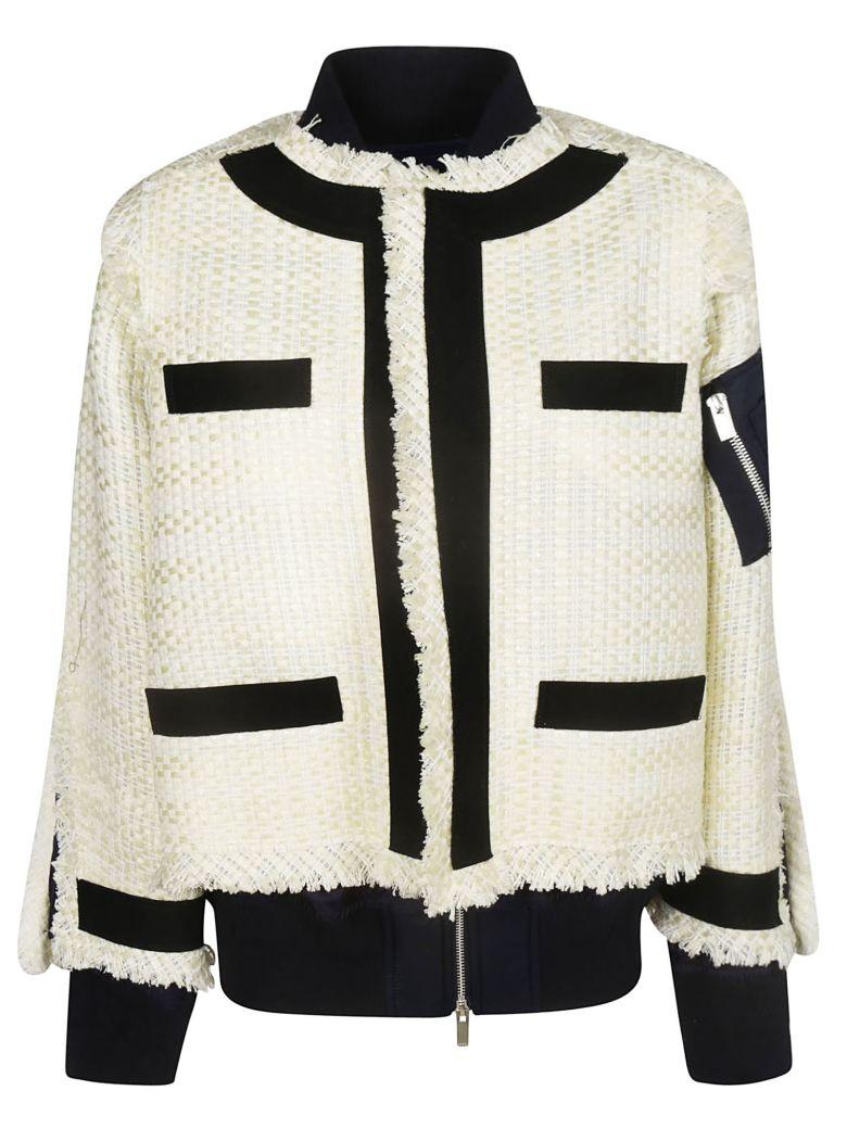 Sacai Tweed Bomber Jacket - White/Black