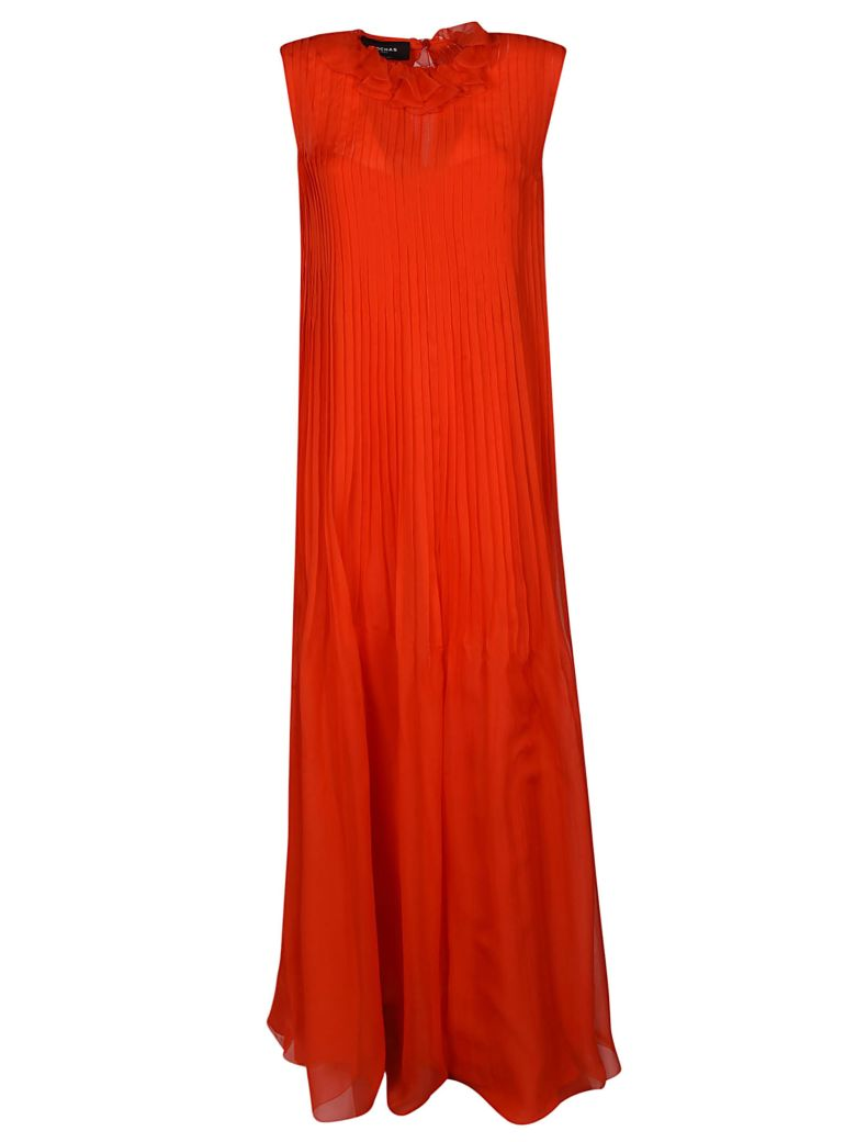 Rochas Pleated Dress - Bright Red