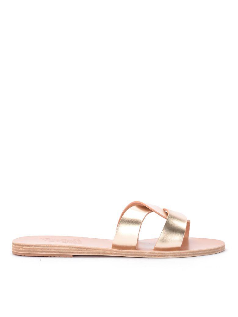 Ancient Greek Sandals Desmos Platinum Leather Sandal. - PLATINO