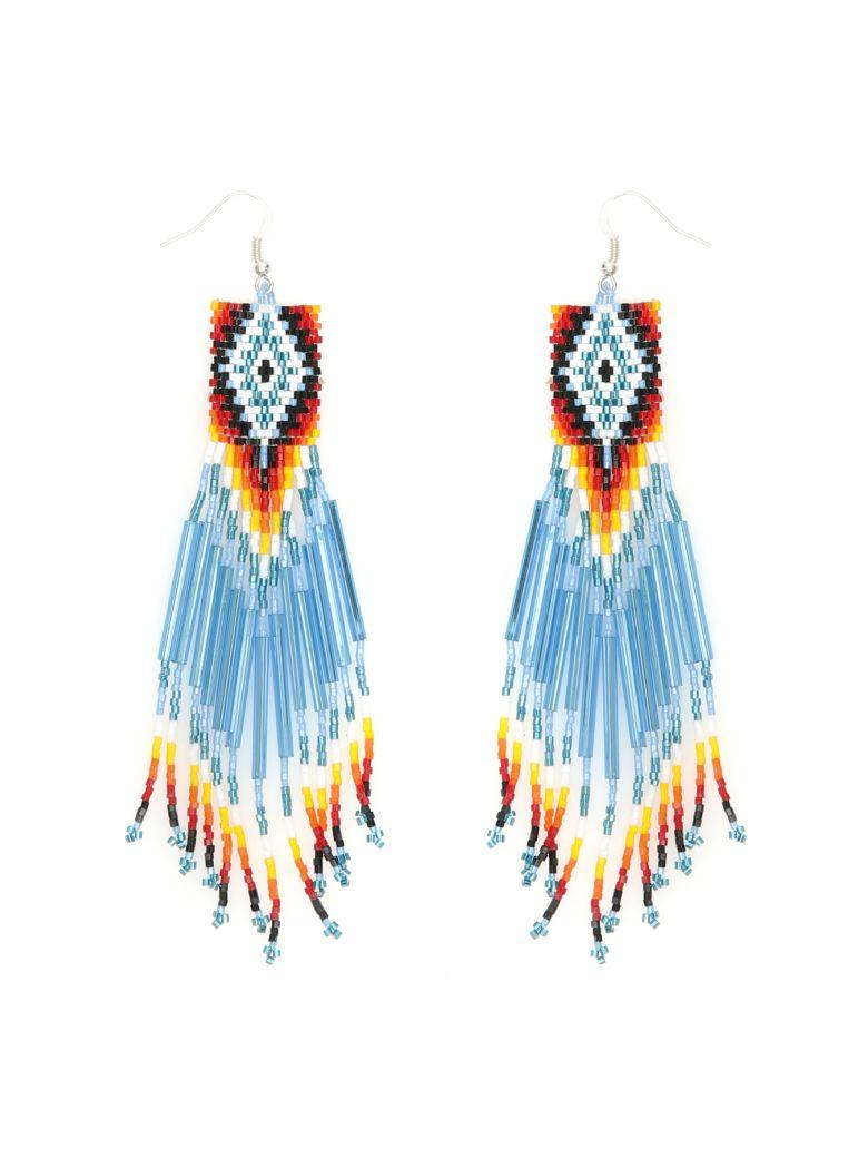 Jessie Western Zuni Chandelier Earrings - MULTICOLOR LIGHT BLUE WHITE (Light blue)