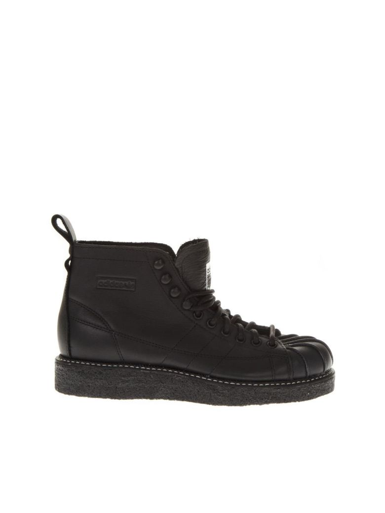 Adidas Originals Sst Luxe Black Lòather Sneakers - Black
