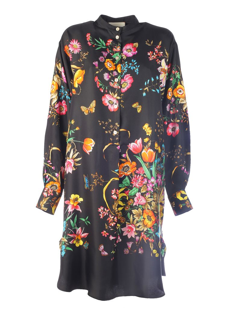 Gucci Floral Printed Dress - Nero