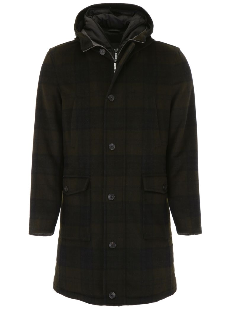 CC Collection Corneliani Long Check Parka - CHECK GREEN|Verde