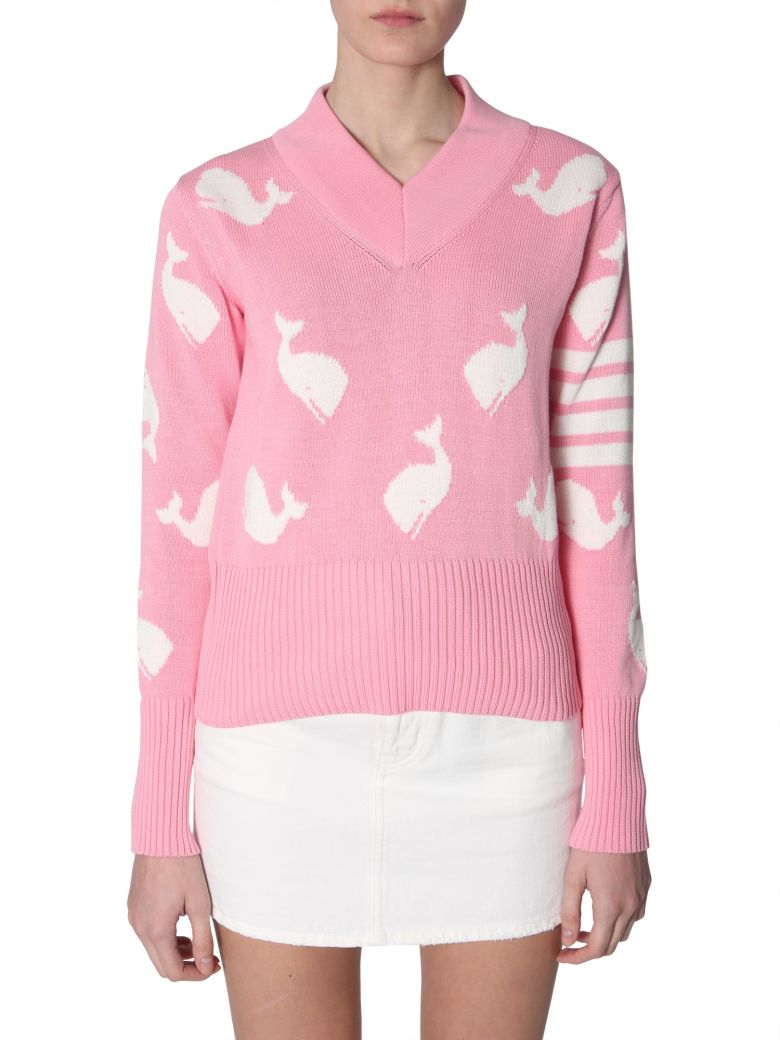 Thom Browne V-neck Sweater - ROSA