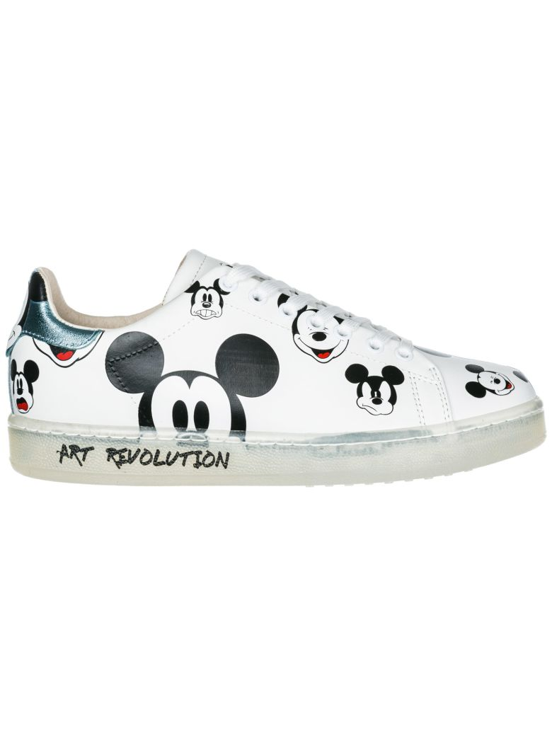 M.O.A. master of arts  Shoes Leather Trainers Sneakers Disney Mickey Mouse - White