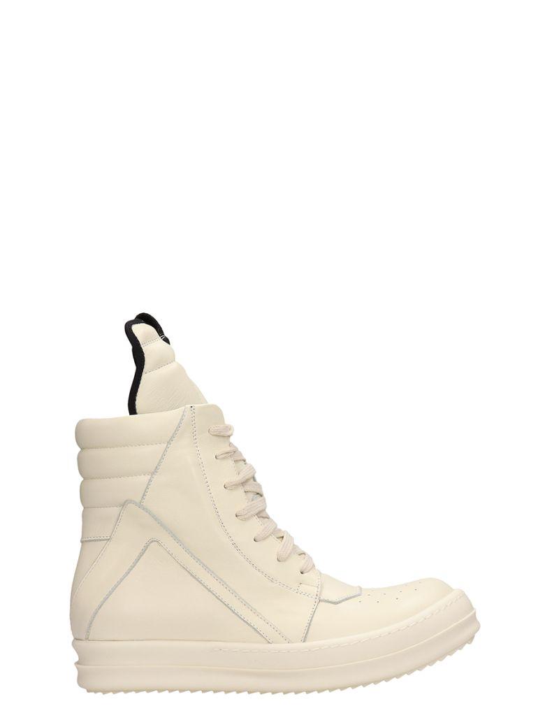 Rick Owens Geobasket White Leather Sneakers - white