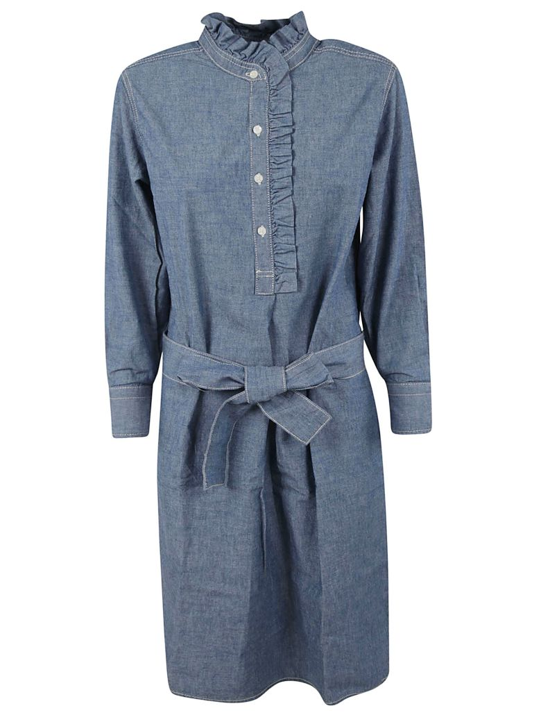Tory Burch Ruffle Trim Shirt Dress - Chambray