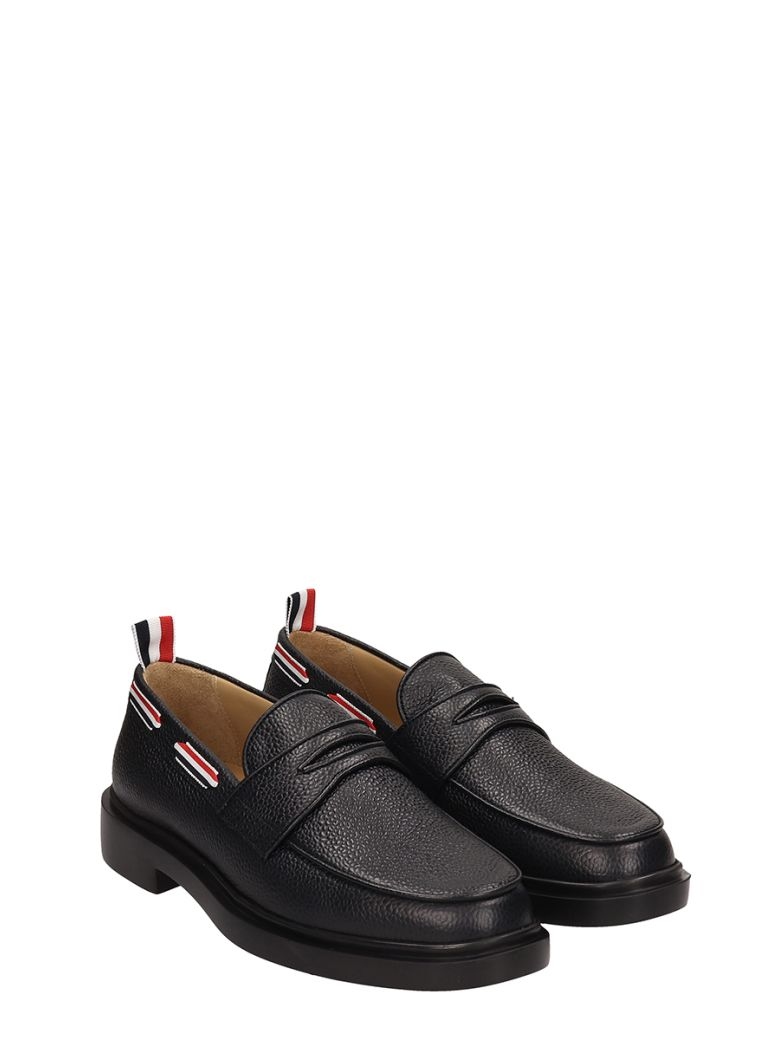 00d3a288cd5 Thom Browne Grosgrain Trim Pebbled Leather Penny Loafers In Black ...