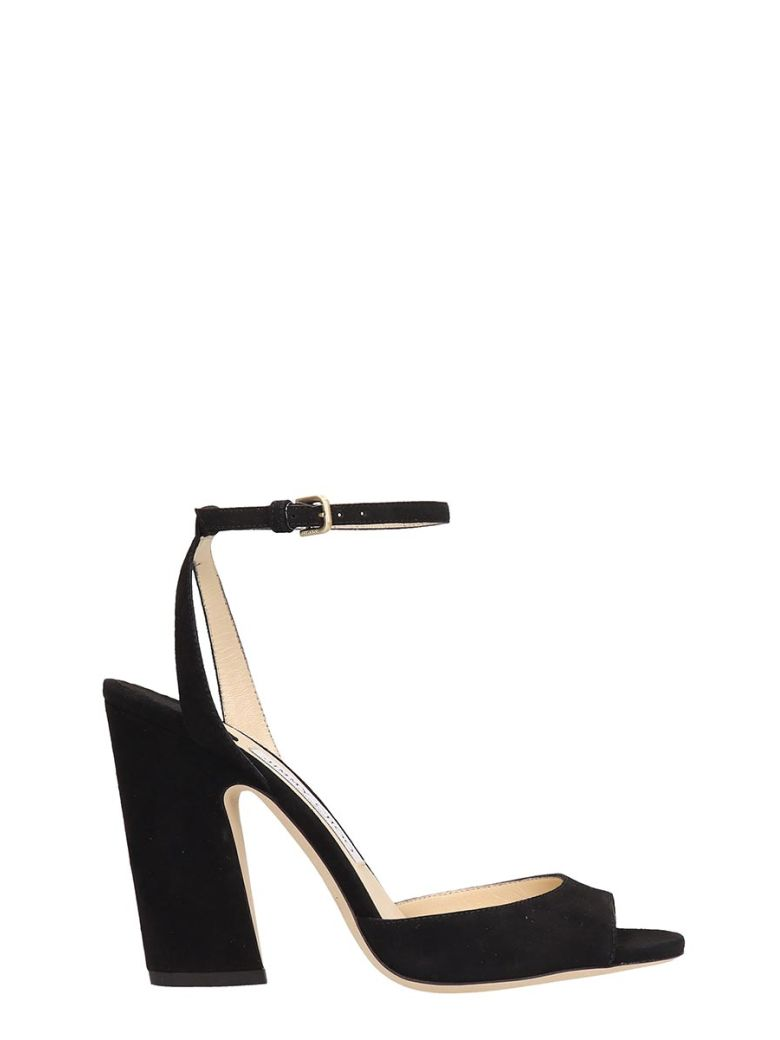 Jimmy Choo Black Suede Miranda Sandals - Black