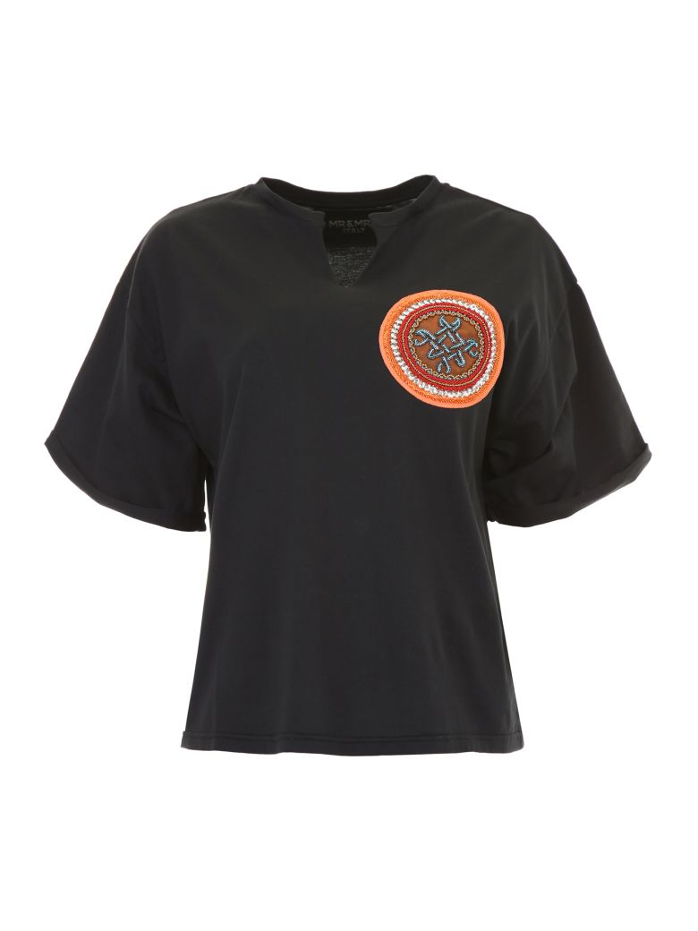 Mr & Mrs Italy T-shirt With Embroidery - BLACK (Black)