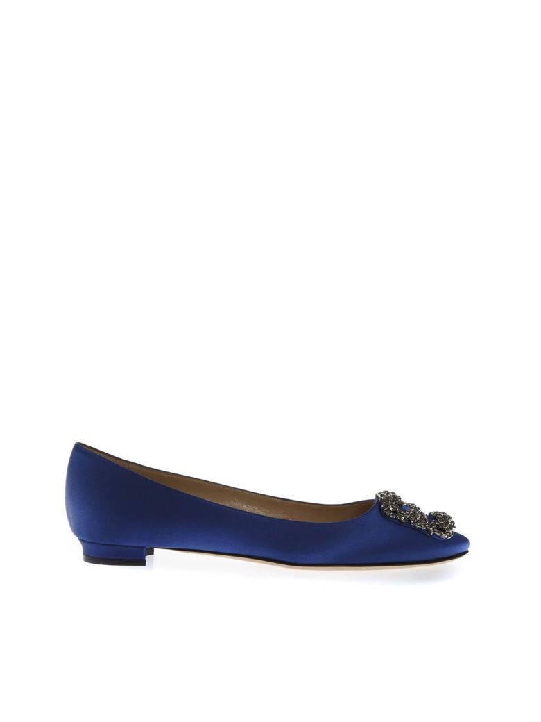 Manolo Blahnik Blue Satin Jewel Buckled Flats - Blue