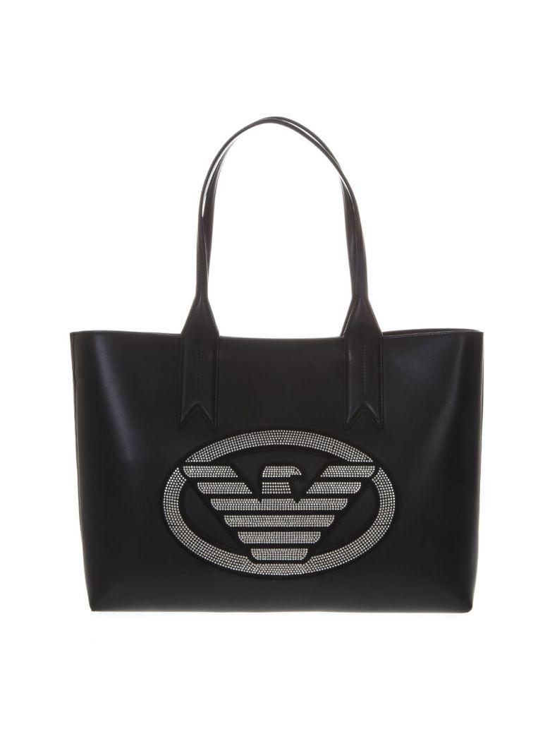839fb052f007 Emporio Armani Embellished Black Faux Leather Shopper Bag With Iconic Eagle  Logo - Black