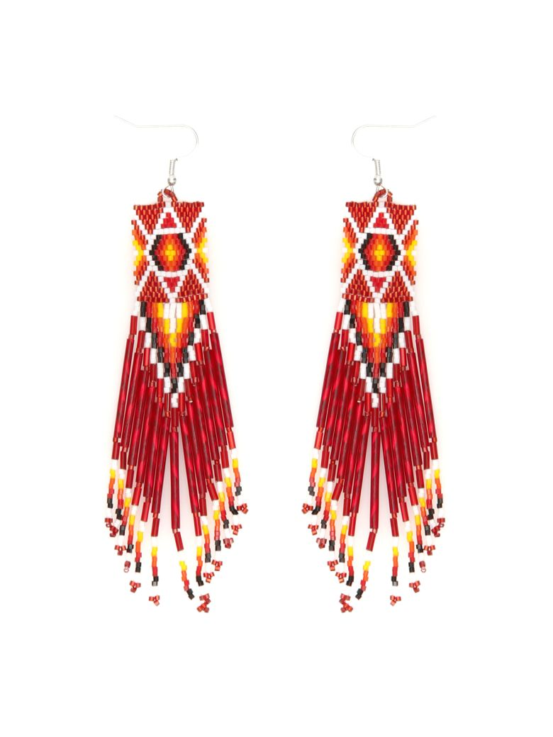 Jessie Western Zuni Chandelier Earrings - MULTICOLOR RED (Red)