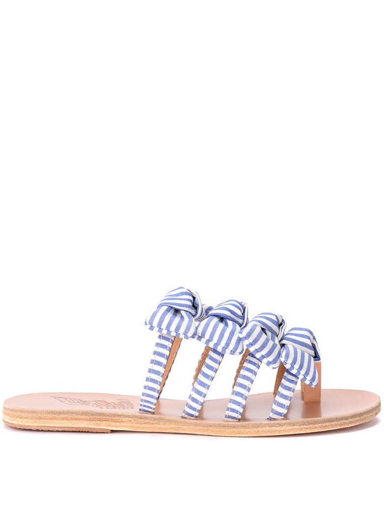 Ancient Greek Sandals Hara White And Blue Fabric Slippers With Bows - BLU