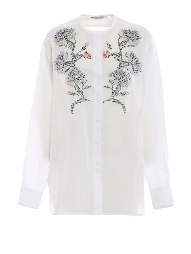 Ermanno Scervino Embroidered Collarless Shirt - Bianco
