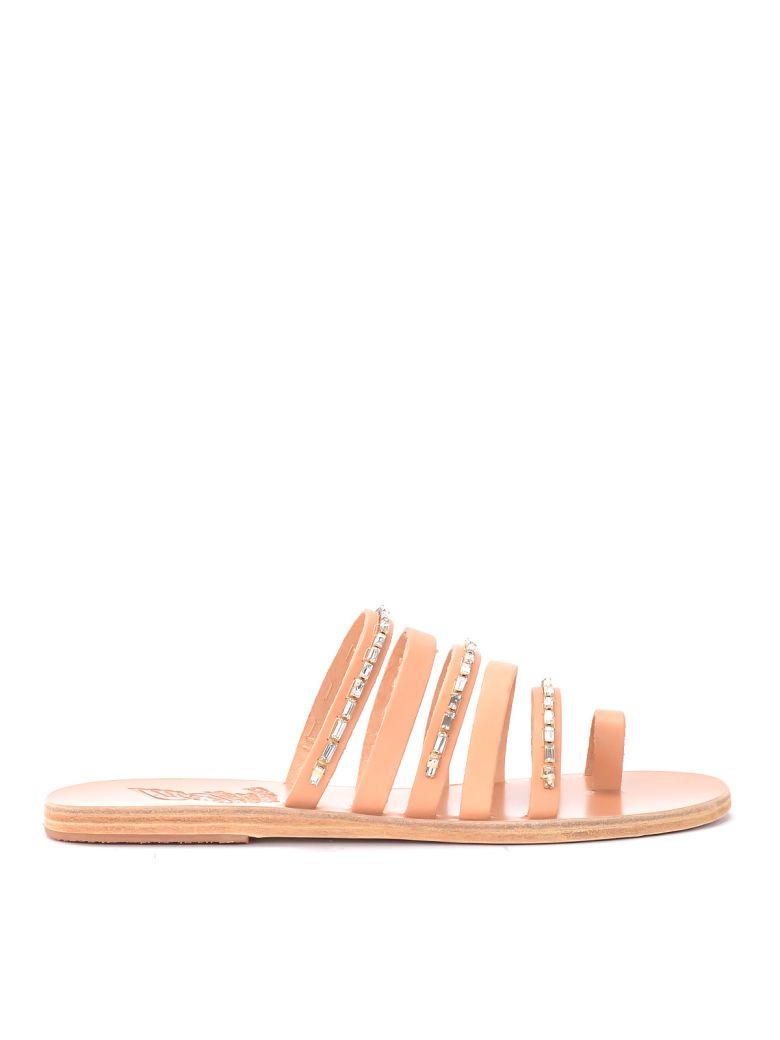 Ancient Greek Sandals Niki Diamonds Leather Sandal. - NATURALE