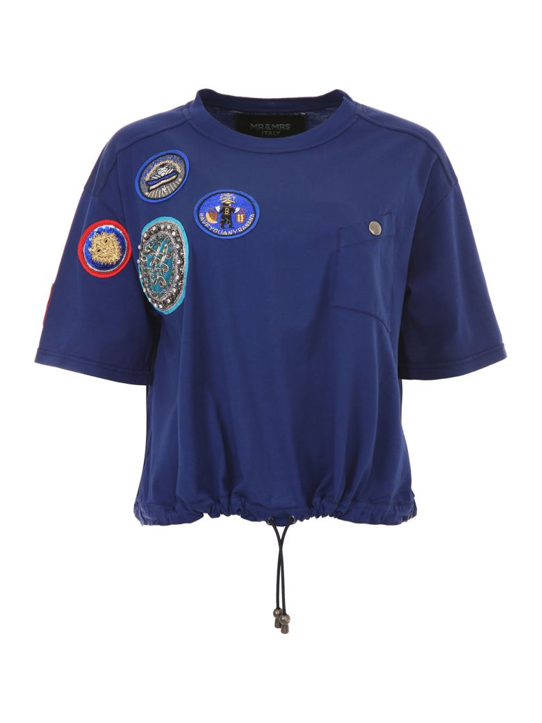 Mr & Mrs Italy T-shirt With Patches - BLEU FRANCE (Blue)