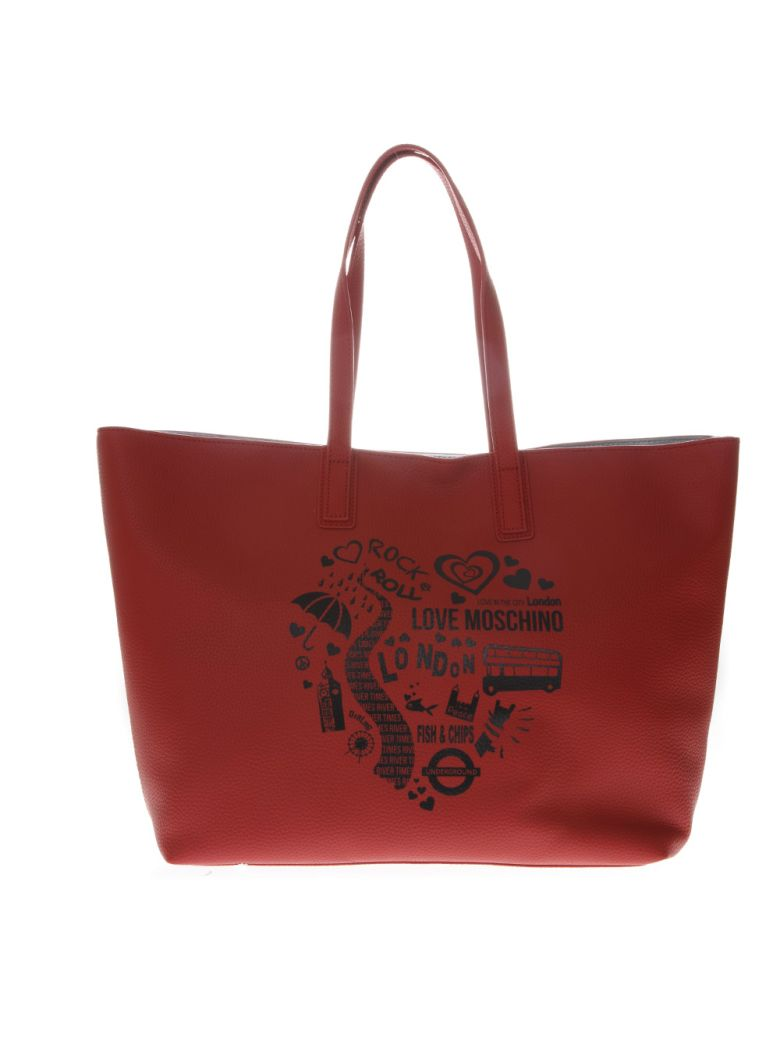 Love Moschino Red Faux Leather Tote Bag With Logo Print - Red
