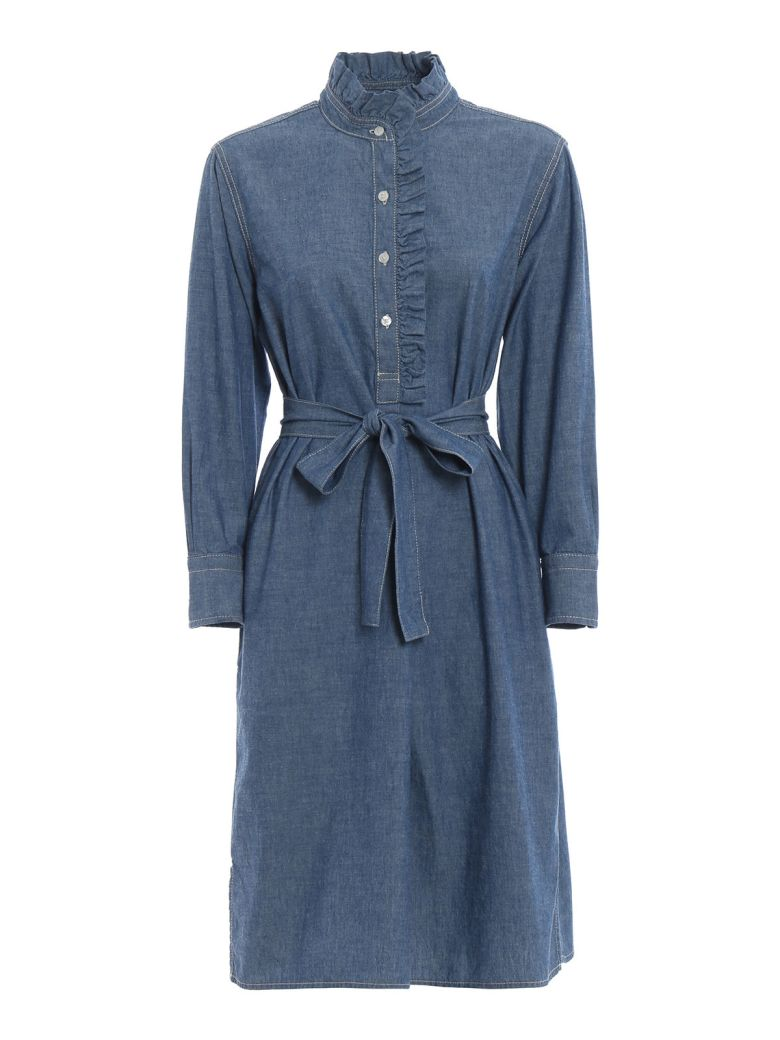 Tory Burch Ruffle Trim Dress - Chambray