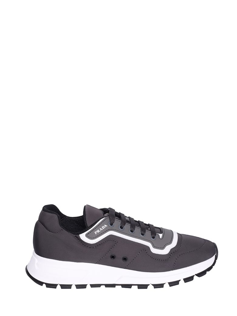 Prada Linea Rossa Logo Low-top Sneakers - Fumo/bianco