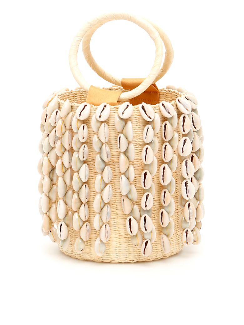 Sensi Studio Wicker Mini Bag With Cowrie Shells - NATURAL (Beige)