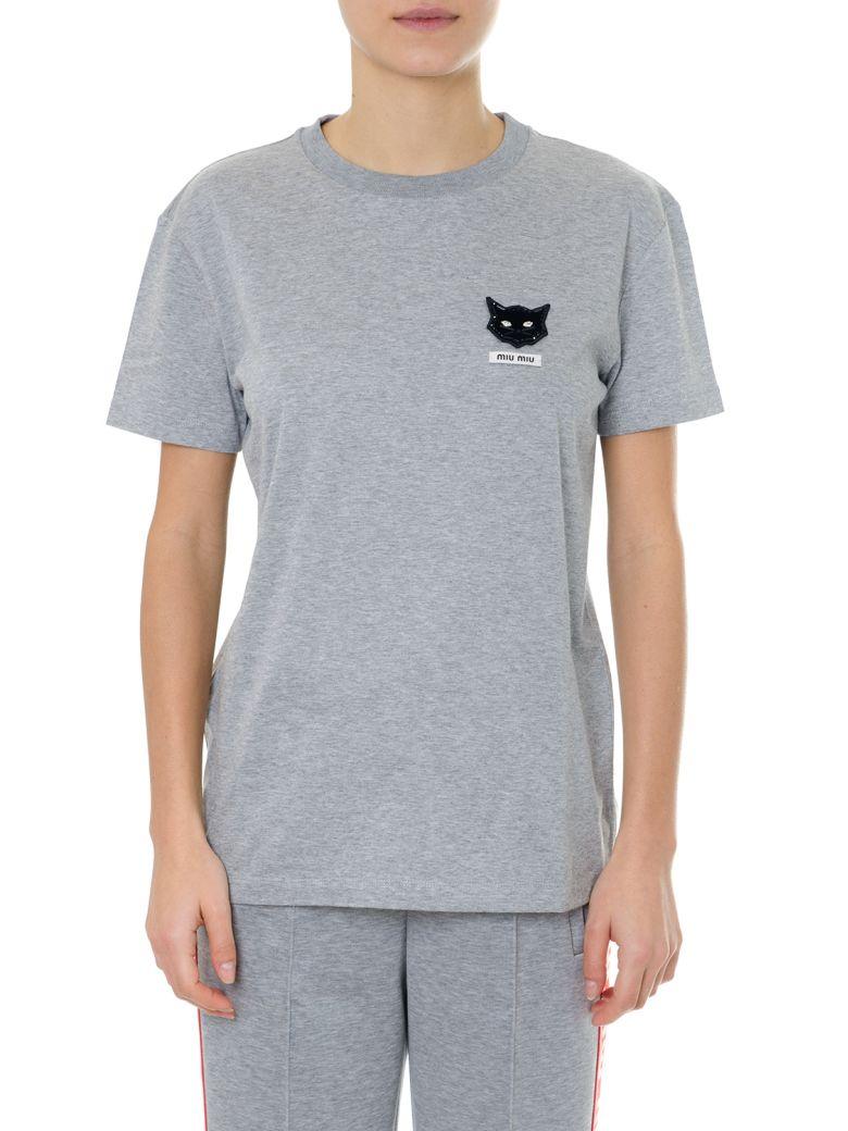 Miu Miu Gray T-shirt In Cotton Jersey - Gray