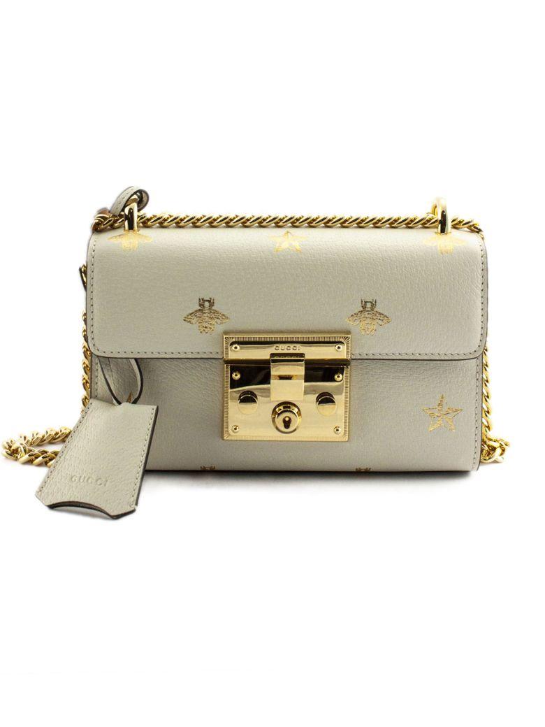 Gucci Padlock Bee Star Small Shoulder Bag - Panna