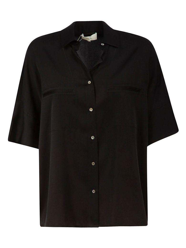 Vince Short Wide Sleeve Blouse - Black