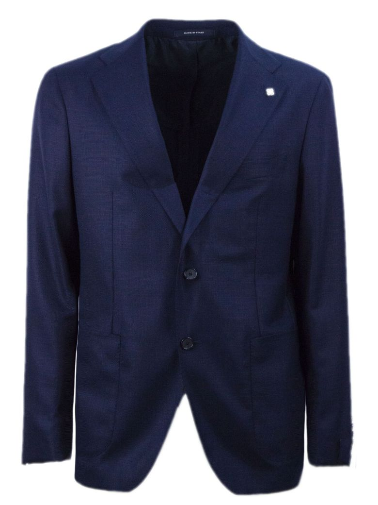 Tagliatore Dark Blue Virgin Wool Jacket - Blu