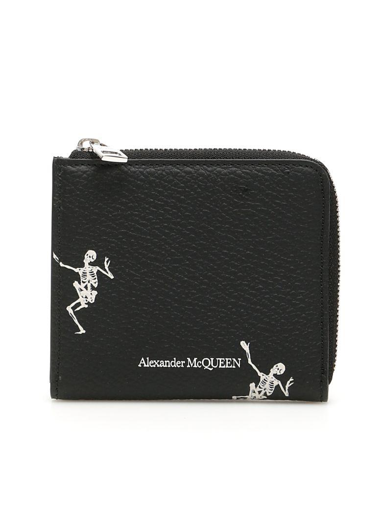 Alexander McQueen Dancing Skeleton Wallet - BLACK OFF WHITE (Black)